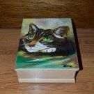 Unique Custom Wood Casket Memorial Urn for Cat's ashes Hand painted Pet Urn cat