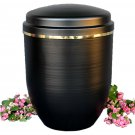 Black Metal Cremation Urn for Ashes with Gold Ribbon Funeral Urn Memorials UK