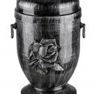 Steel Cremation Urn for Ashes with Rose Emblem Funeral Urn for Adult Memorial UK