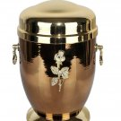 Beautiful Gold Metal Cremation Urn for Ashes with Rose Adult Funeral Ashes Urn