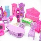 Doll House Set Plastic Furniture Miniature Rooms Dolls Toys Kids Children Pretend Play Gift Decorati
