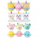 WOOW Squishy 3Pcs Kawaii Unicorn Animal Slow Rising Rebound Toys With Packaging