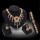 Gold Plated Rhinestone Crystal Wedding Party Necklace Bracelet Ring Earring Set Jewelry Set For Wome
