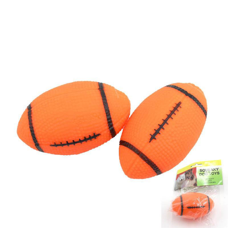 1Pc Pet Vocal Toys Gel Rugby Molar Bite Training Dog Toy Ball Cat Vent Toys