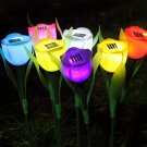 1Pc Outdoor Solar Power Tulip Flower LED Light Yard Garden Lawn Path