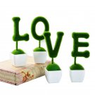 4pcs/1Set Artificial Flowers Grass Ball love Shaped Decorations