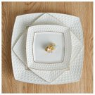 8 Inch Square Painting Ice Flower Relief Ceramic Dish Rice Bowl