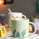 Creative Ceramic Coffee Cup Mug Water Cup Cactus Pattern Mug Durable Mug