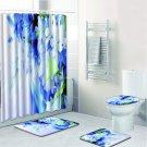 4Pcs Set Bathroom Carpet Non-Slip Pedestal Rug Lid Toilet Cover Shower Curtain