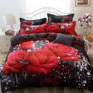 Cotton 3D Rose Bedding Sets Soft Duvet Cover Bedsheet Pillowcase Reactive Printed Bedclothes Queen B