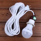 AC220V E27 5W Pure White Emergency LED Light Bulb with 5M Cable Line US Plug for Outdoor Camping
