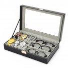 PU Leather 3 Grid Sunglasses 6 Cell Watch Display Storage Box Case Organizer