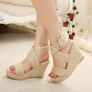 Large Size Flax Thick Bottom Wedge Sandals