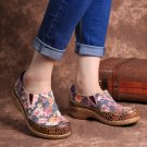 Socofy Women Comfy Bloom Flowers Splicing Retro  Stitching Slip On Flats