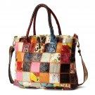 Women Genuine Leather Vintage Tote Handbag Large Capacity Stitching Crossbody Bag