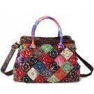 Women Bohemian Genuine Leather Floral Handbag Large Capacity Vintage Crossbody Bags
