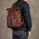 Ekphero  Men Women PU Leather Vintage Large Captial Backpack Laptop bags School Bag Shoulder Bags
