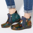 SOCOFY Women Retro Flower Genuine Leather Double Zipper Ankle Boots