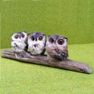 Owl Trio - Three Owls on a Branch - Garden or Indoor Ornament