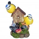 Pair of Bluetits with a Nesting Box - Singing Bird Garden Ornament with Sound