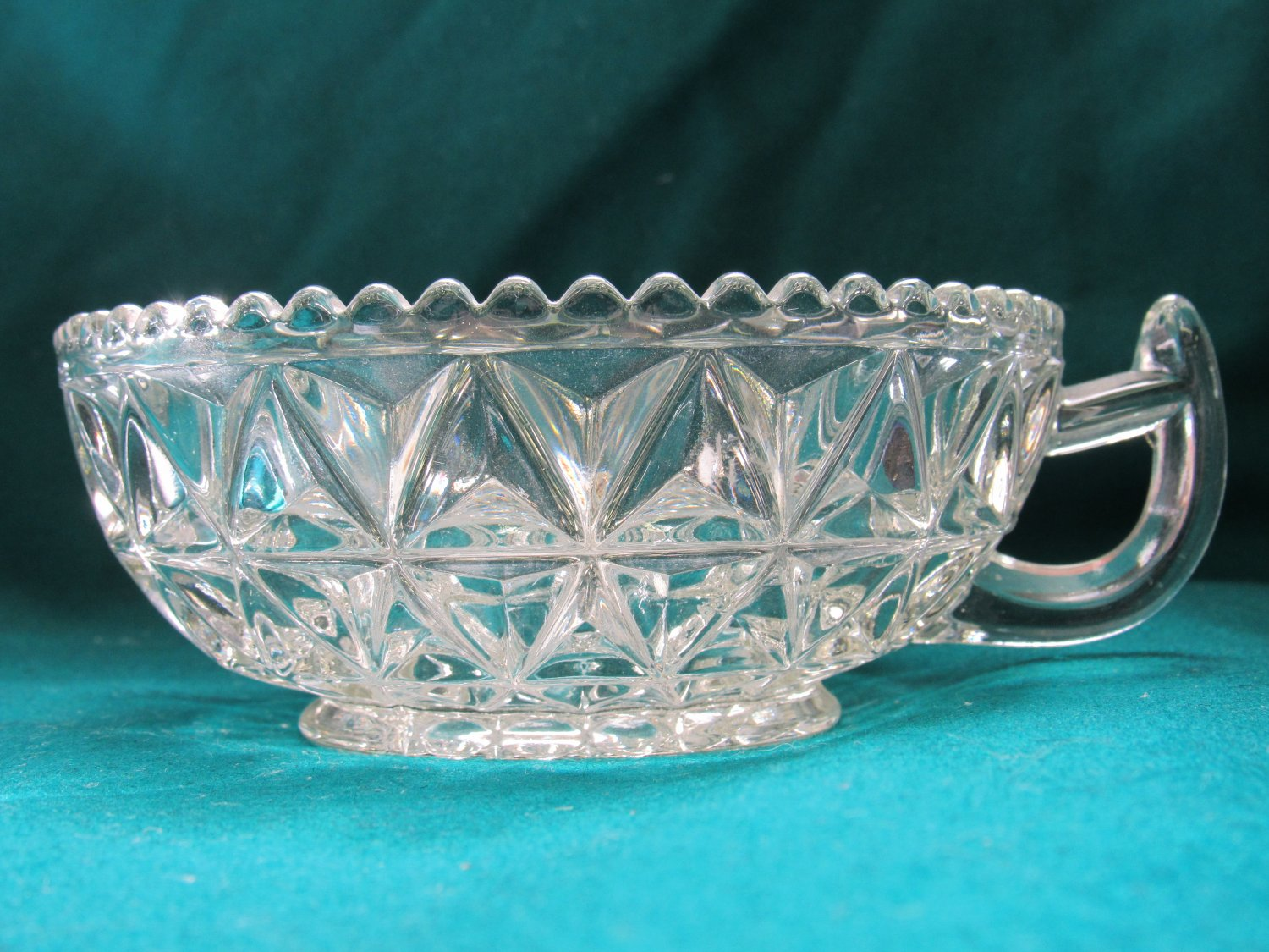 Vintage Pressed Glass Bowl with Handle