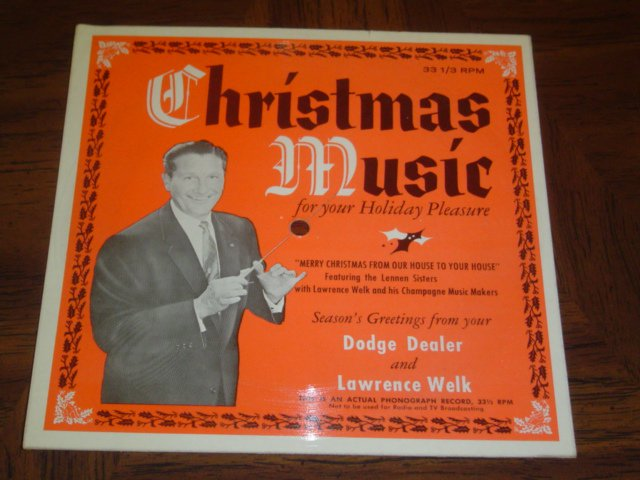Lawrence Welk: Rare 1958 Christmas Cardboard 33 Dodge Advertising - Near Mint!