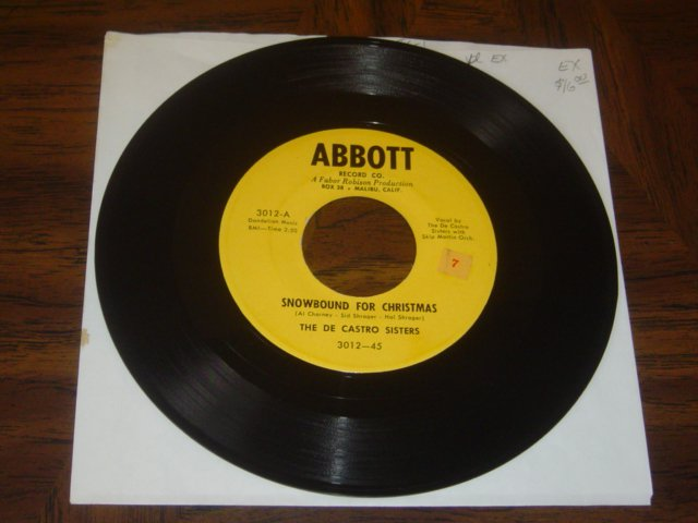 """The De Castro Sisters: """"Snowbound For Christmas"""" - rare '55 Holiday - EX vinyl!"""