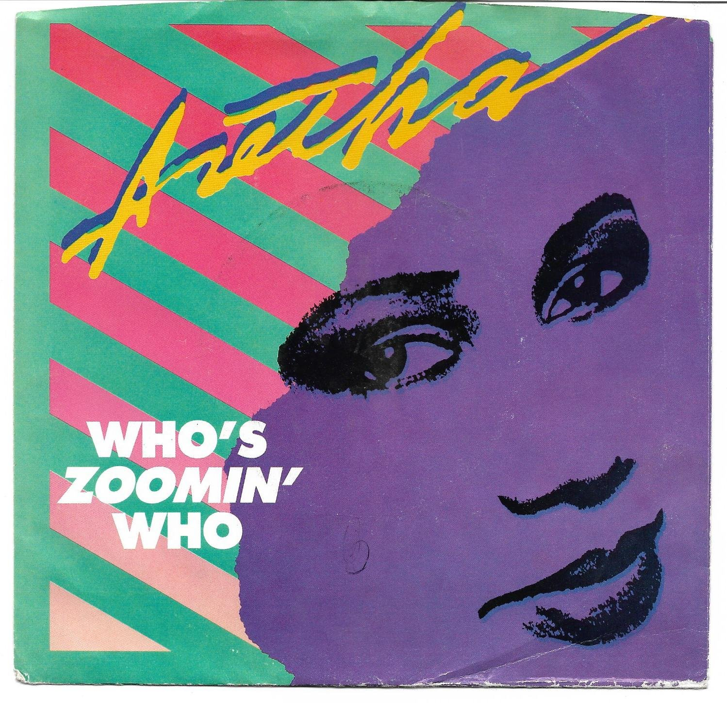 """Picture Sleeve ONLY: Aretha Frankin: """"Who's Zoomin' Who"""" - from '85 hit - EX!"""