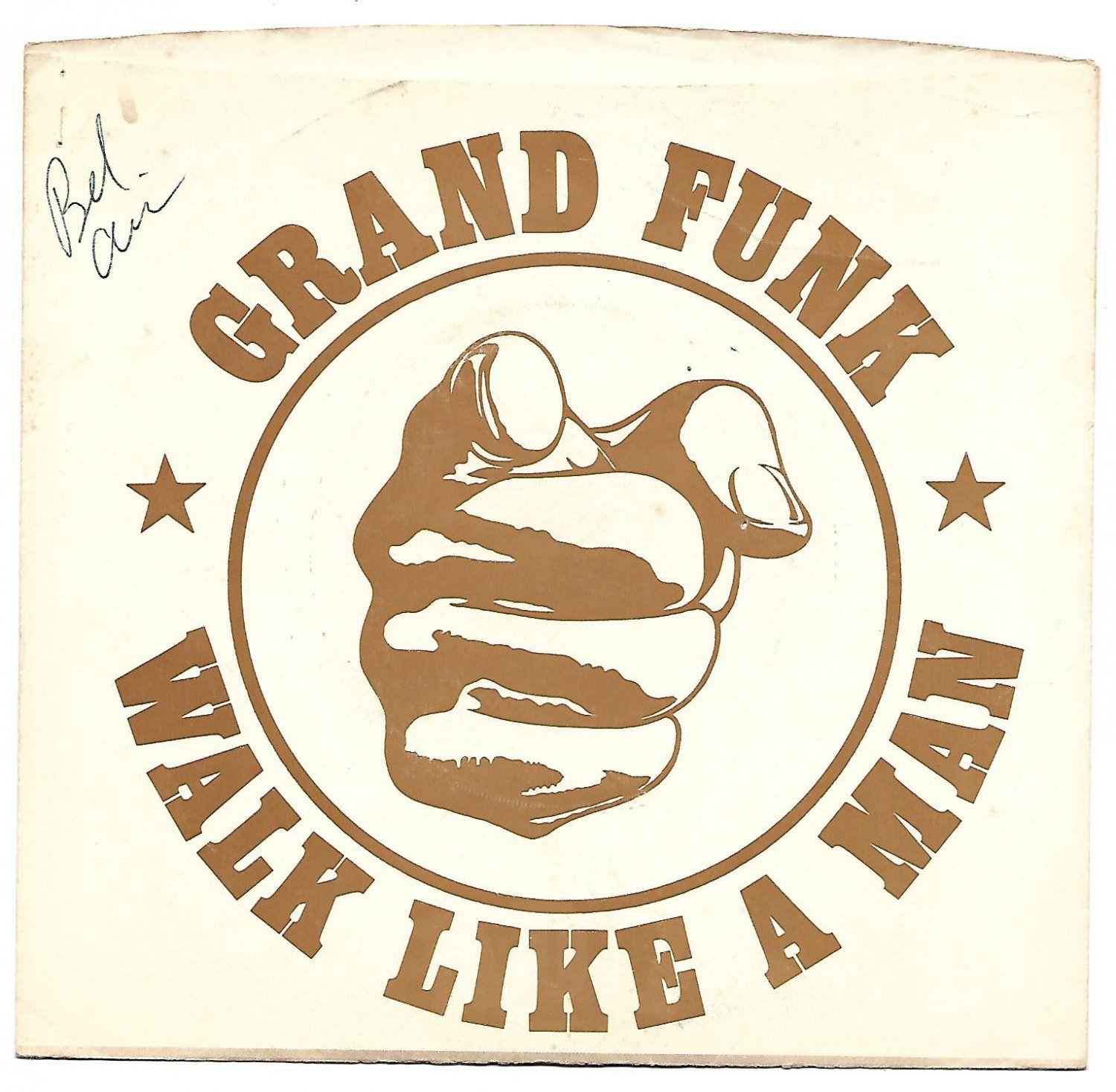 """Picture Sleeve ONLY: Grand Funk: """"Walk Like A Man"""" - from their '74 hit - x-nice!"""