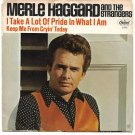 """Picture Sleeve ONLY: Merle Haggard & The Strangers: """"I Take A Lot Of Pride"""" nice"""