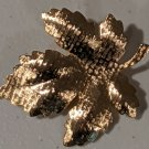 Vintage 1970's or earlier Costume Jewelry Pin Gold Tone Leaf - Excellent