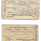 WW II Draft Rergistration Card 1942 and Notice of Classification Card 1944