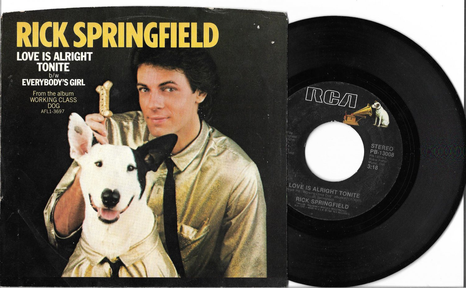 """Rick Springfield: """"Love Is Alright Tonite"""" -  his '81 Rock hit w-Picture Sleeve!"""