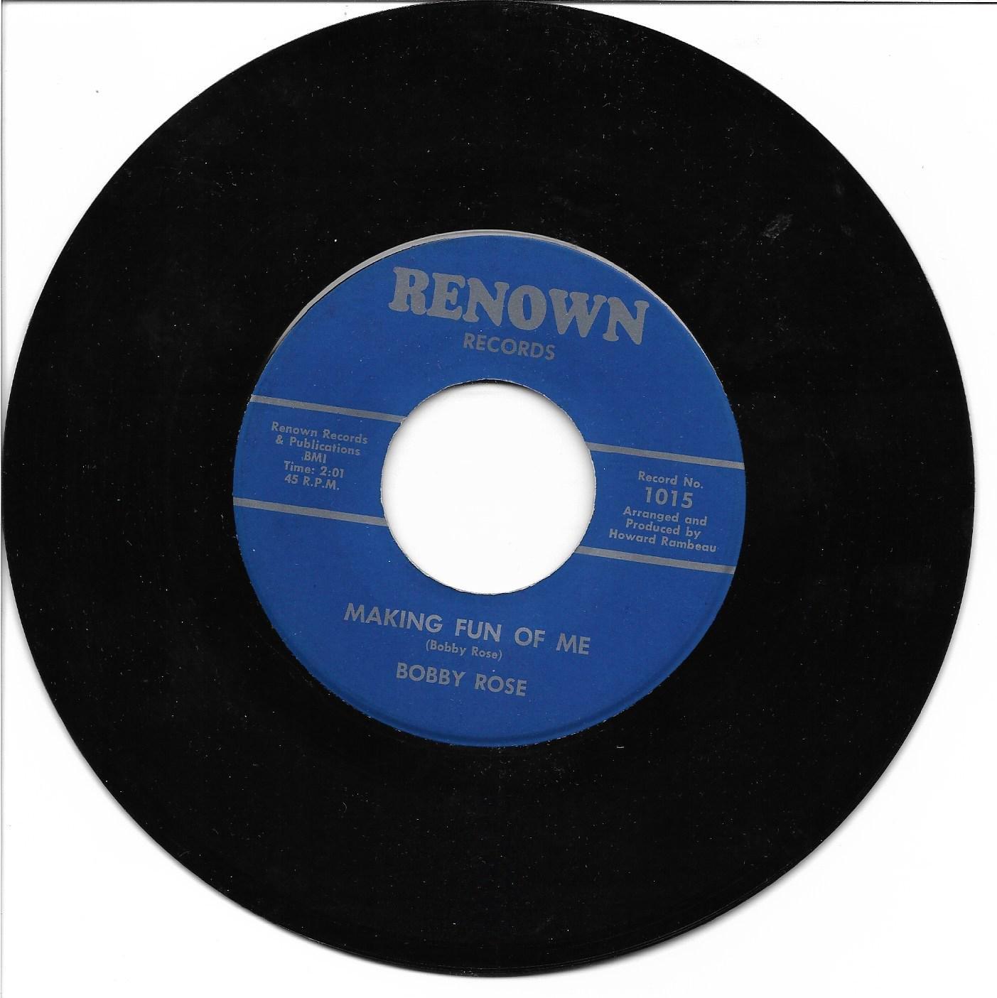 """Bobby Rose: """"Making Fun Of Me"""" / """"Talking To Myself"""" - rare '62 Country - EX!"""