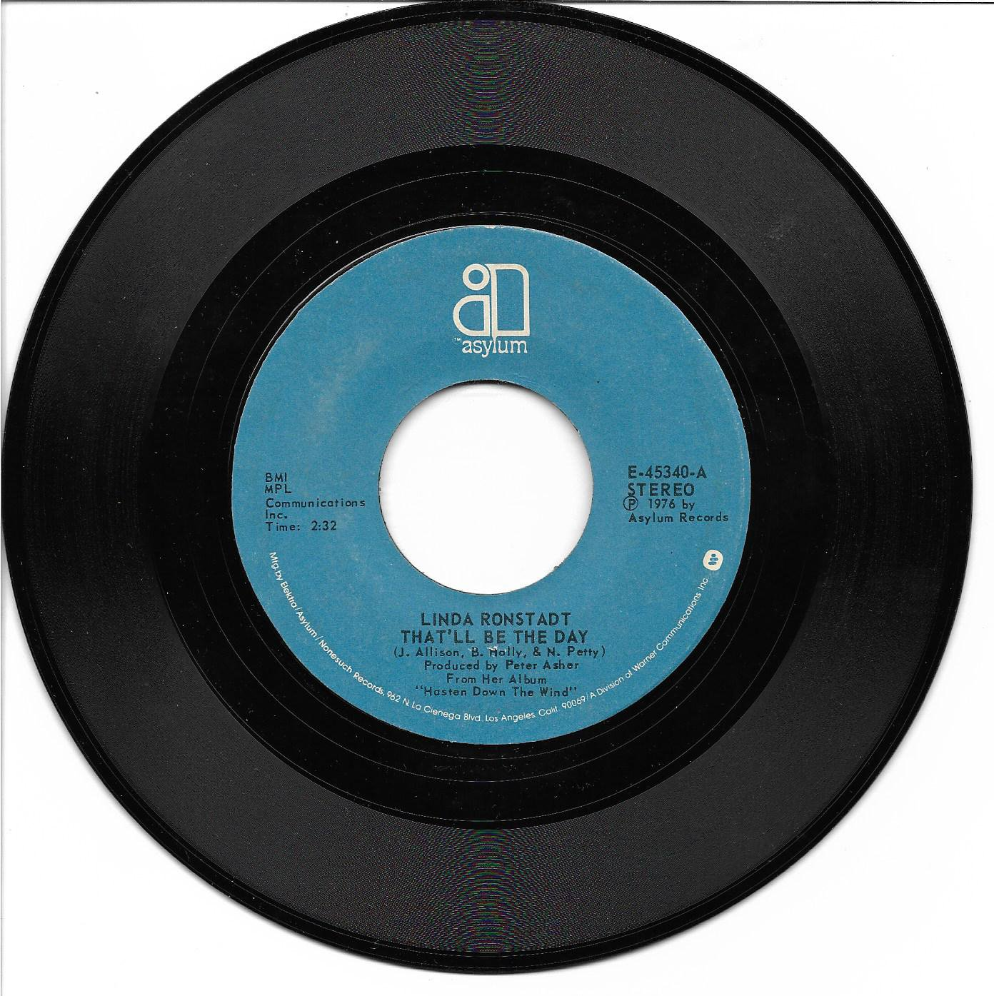 """Linda Ronstadt: """"That'll Be The Day"""" / """"Try Me Again"""" - her '76 hit - plays NM!"""