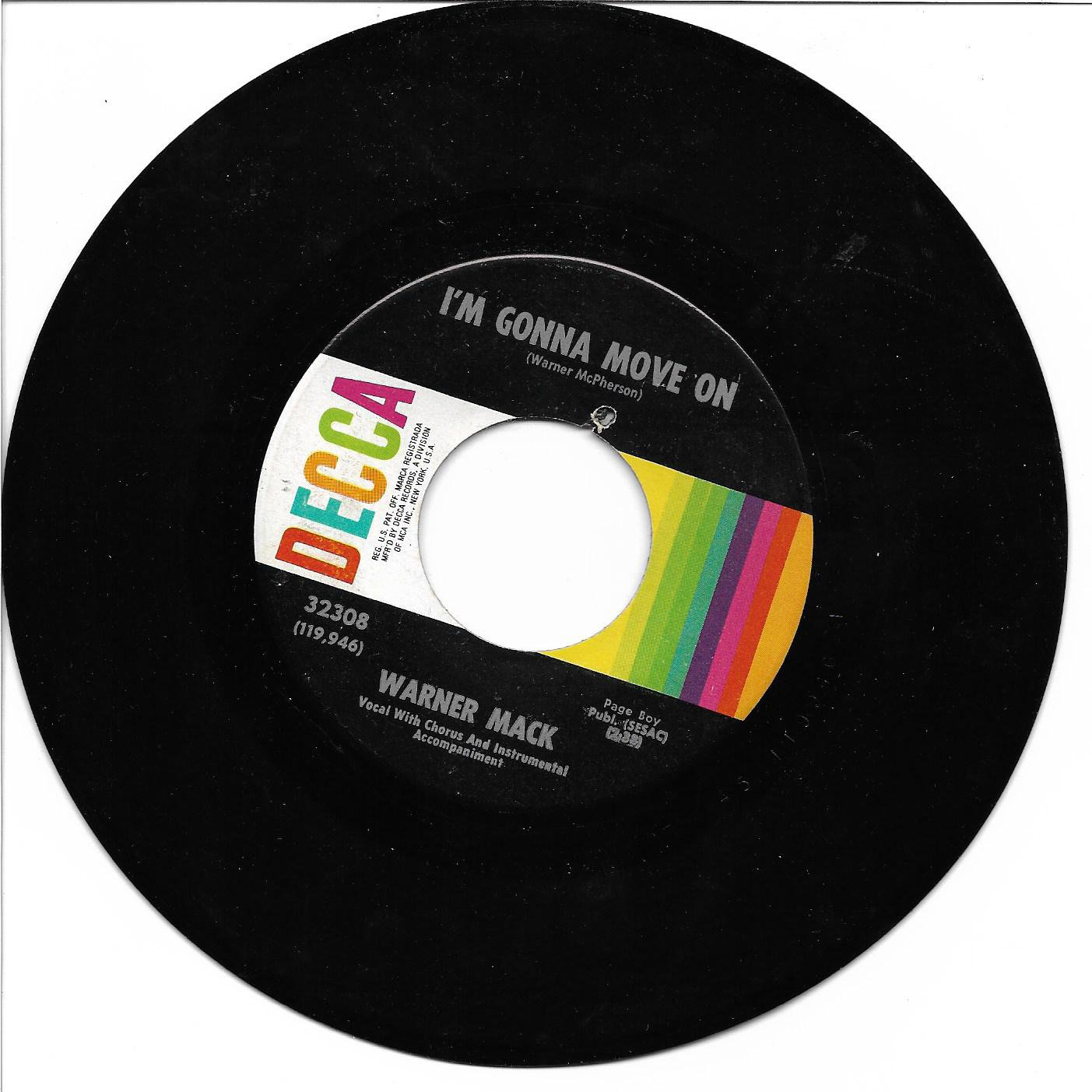 """Warner Mack: """"I'm Gonna Move On"""" / """"Tell Me To Go (Tell Me To Stay)"""" - Near Mint!"""