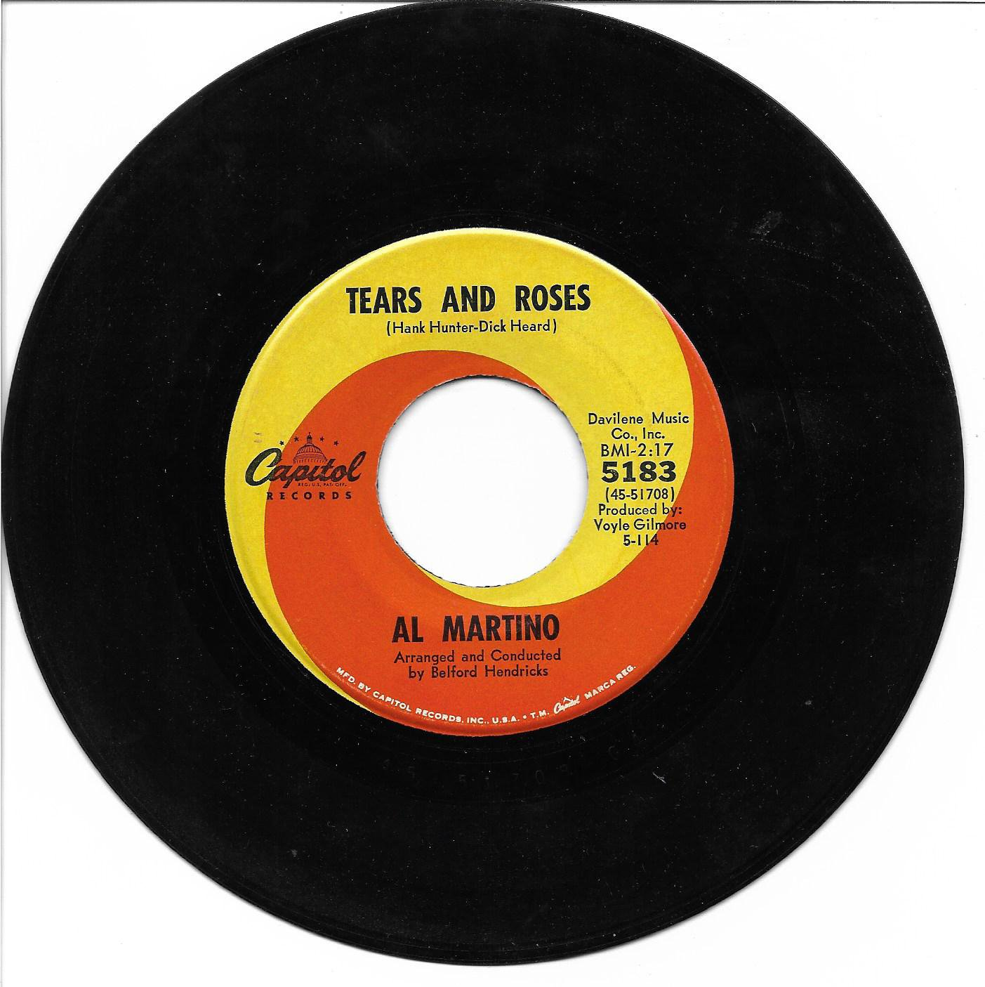 "Al Martino: ""Tears And Roses"" / ""A Year Ago Tonight"" - his '64 hit - Excellent!"
