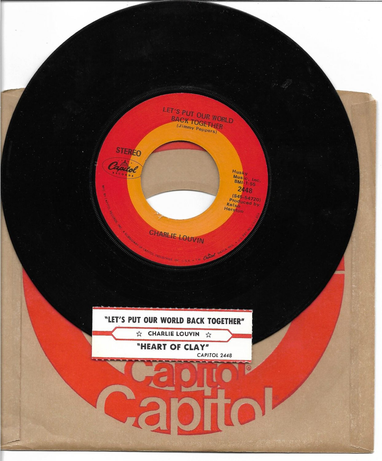"""Charlie Louvin: """"Let's Put Our World Back Together""""/""""Heart Of Clay"""" - '69 - EX!"""