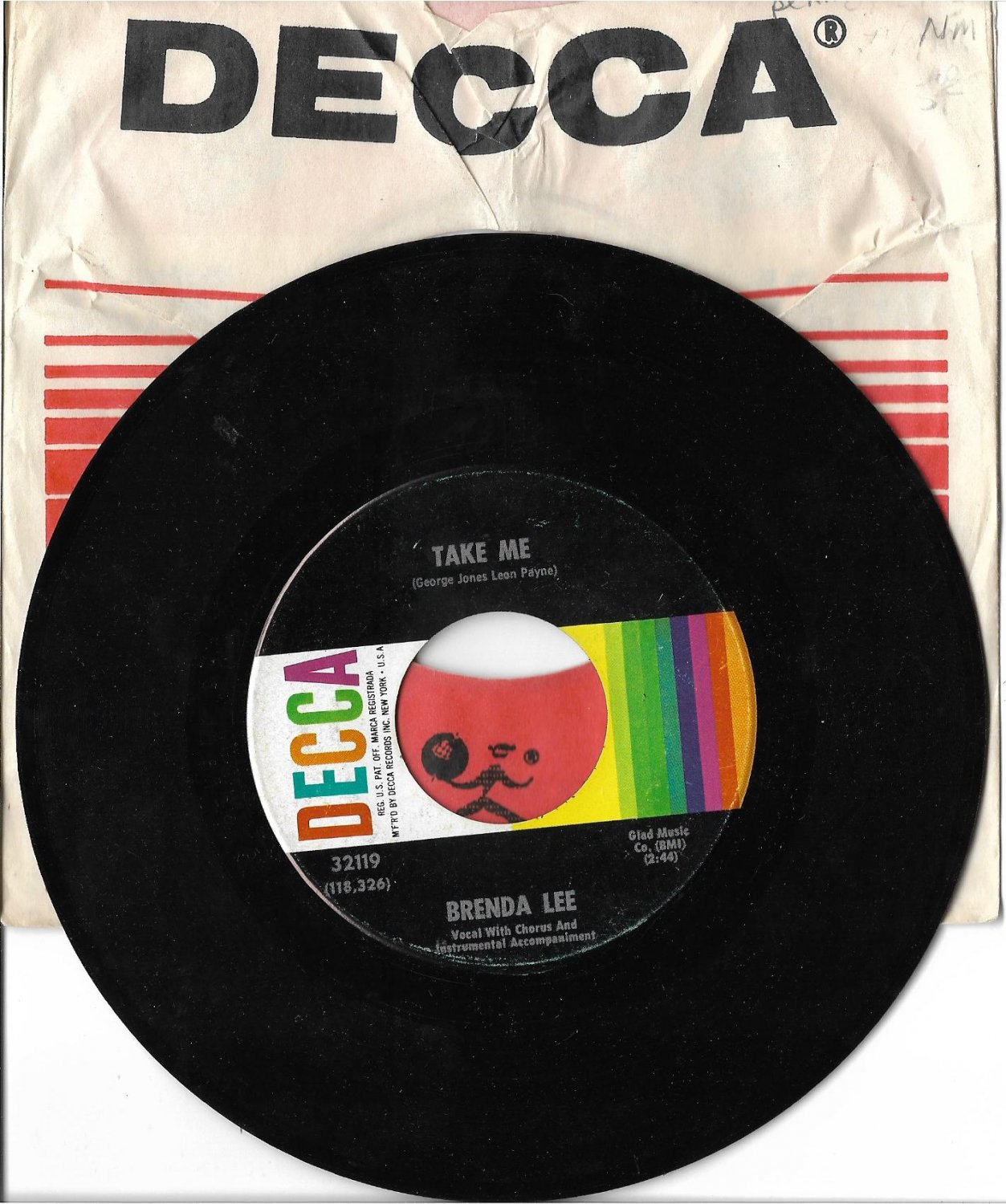 """Brenda Lee: """"Take Me / Born To Be By Your Side"""" - her '67 hit - Excellent!"""