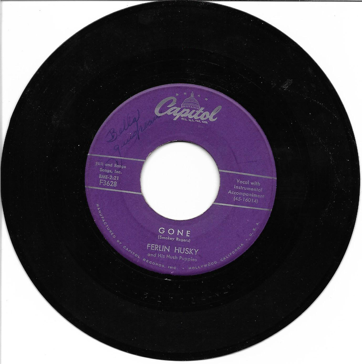 """Ferlin Husky: """"Gone"""" / """"Missing Persons"""" - classic '57 hit - nice vinyl - plays well!"""