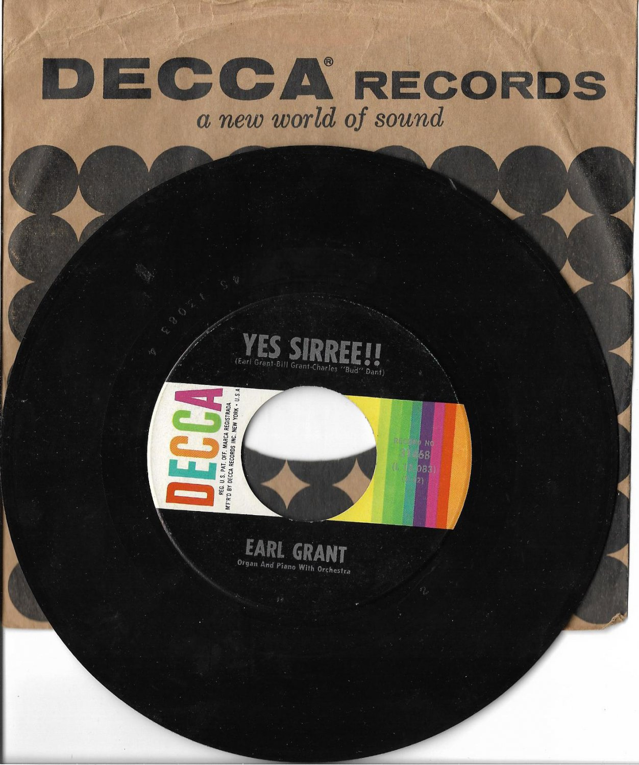 """Earl Grant: """"Yes Sirree!!"""" / """"Steve's Theme"""" - '62 Piano - Excellent!"""