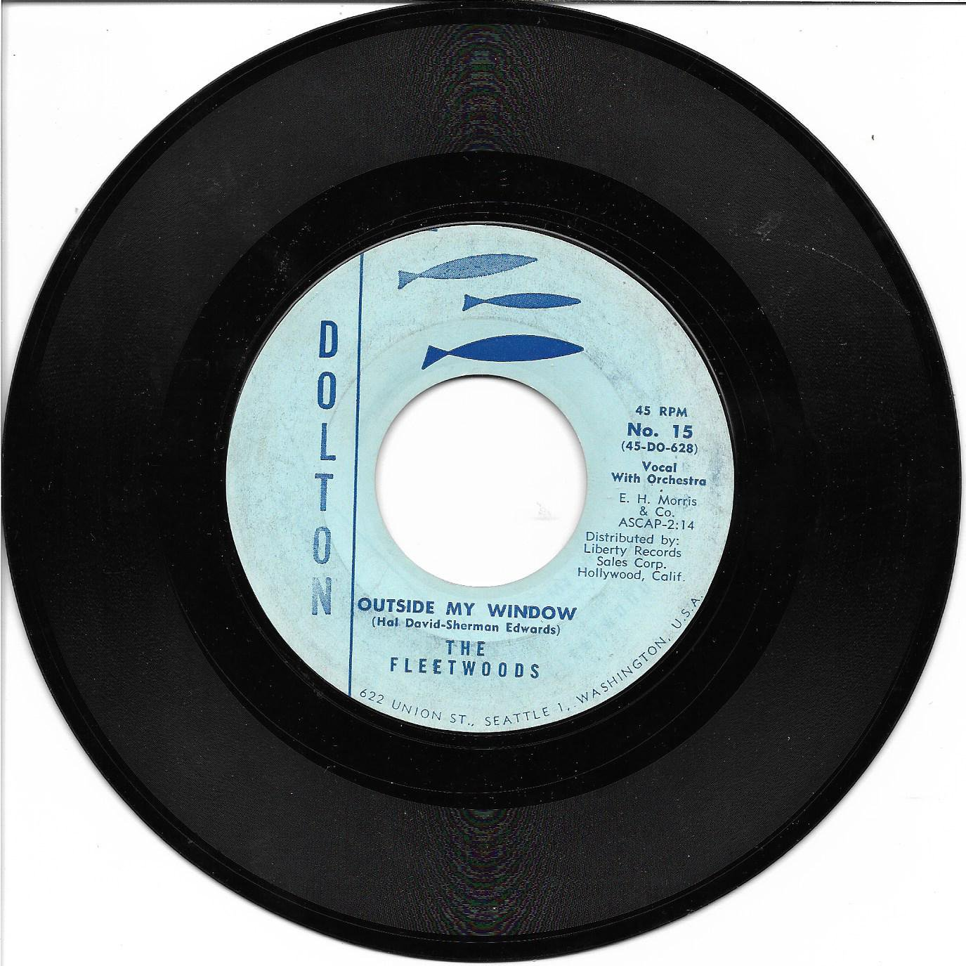 """The Fleetwoods: """"Outside My Window"""" / """"Magic Star"""" - '60 Pop - plays well!"""