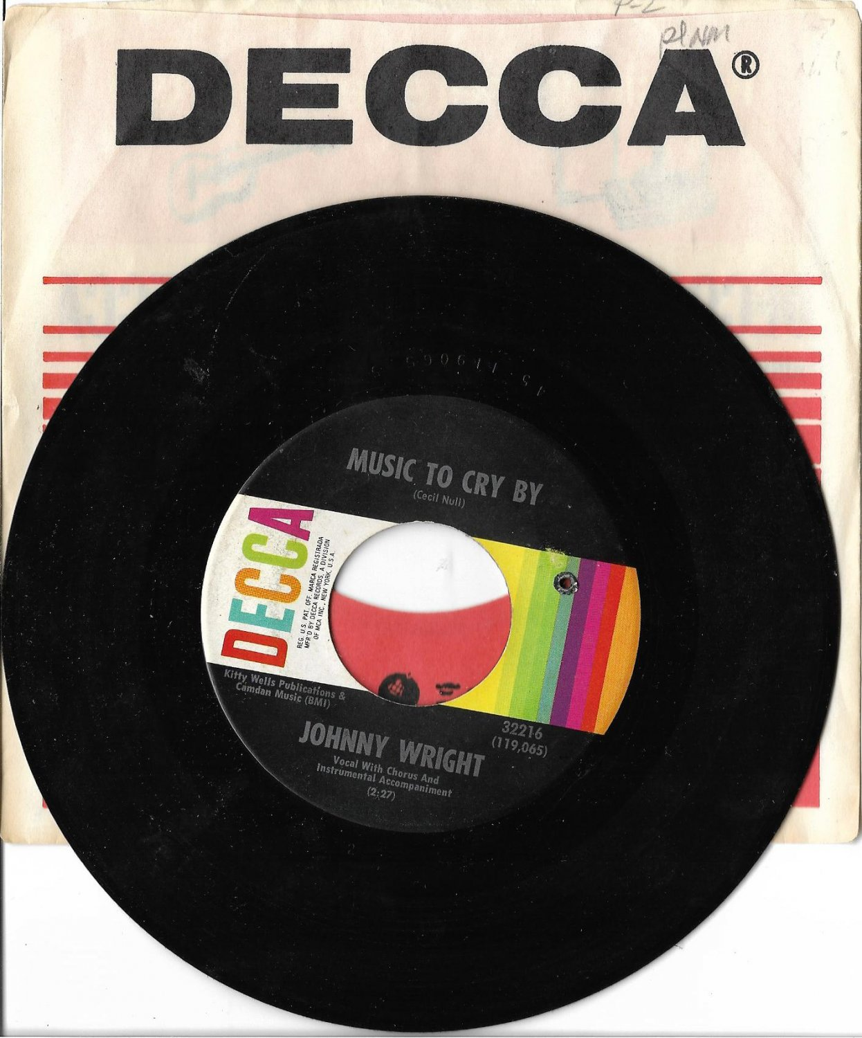 """Johnny Wright: """"Music To Cry By"""" / """"Cheaters Can't Win"""" - rare '67 - Excellent!"""