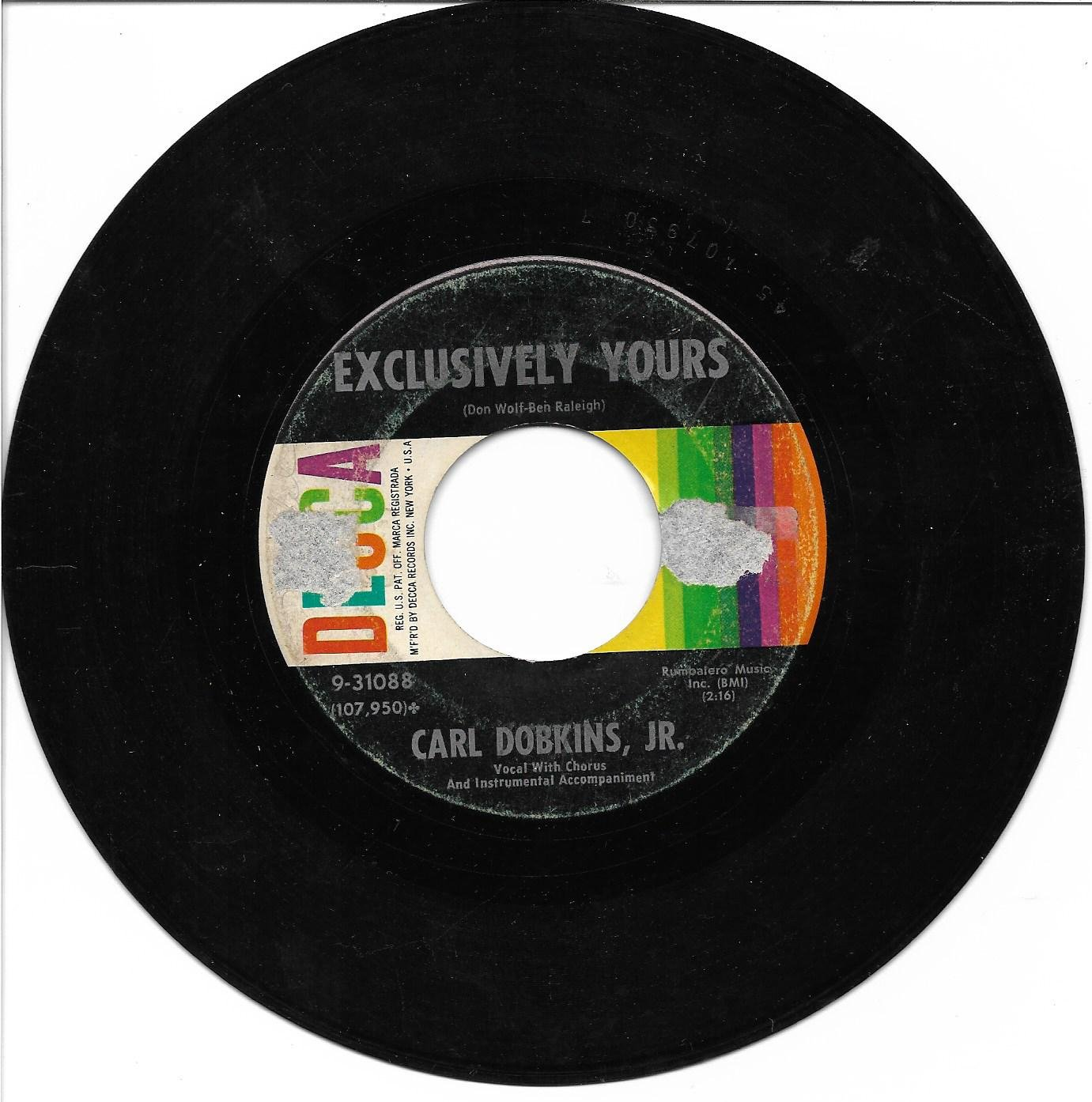 """Carl Dobkins Jr: """"Exclusively Yours"""" / """"One Little Girl"""" - '60 hit - plays close to NM!"""