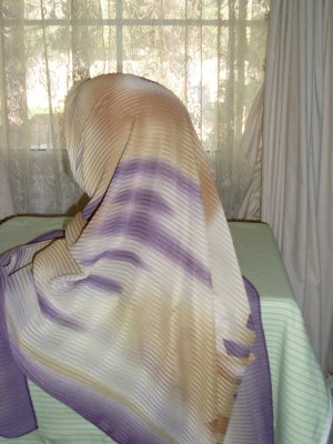 Toffe and Purple colored abstract print hijab scarf
