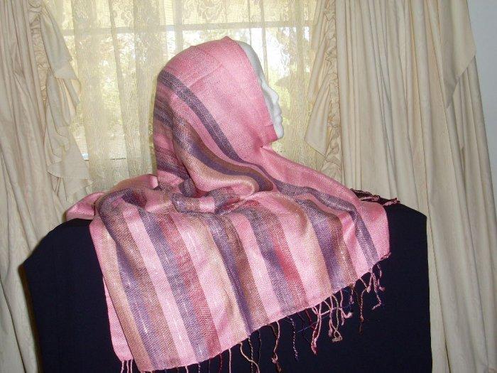 Pink striped shawl hijab shayla