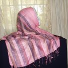 Pink striped shawl hijab shayla