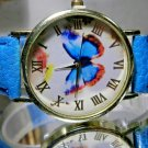 Big Face Blue Morpheus Butterfly Roman Numeral Watch Ships Free! 2 Year Warranty