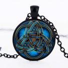 Vintage Retro Cabochon Bronze Glass Chain blue Celtic triquetra