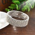 Fashion Crystal Rhinestone Stretch Bracelet Bangle Wristband Wedding Bridal Gift 5 row